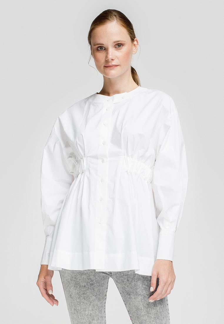Cotton maternity tailored blouse in white color