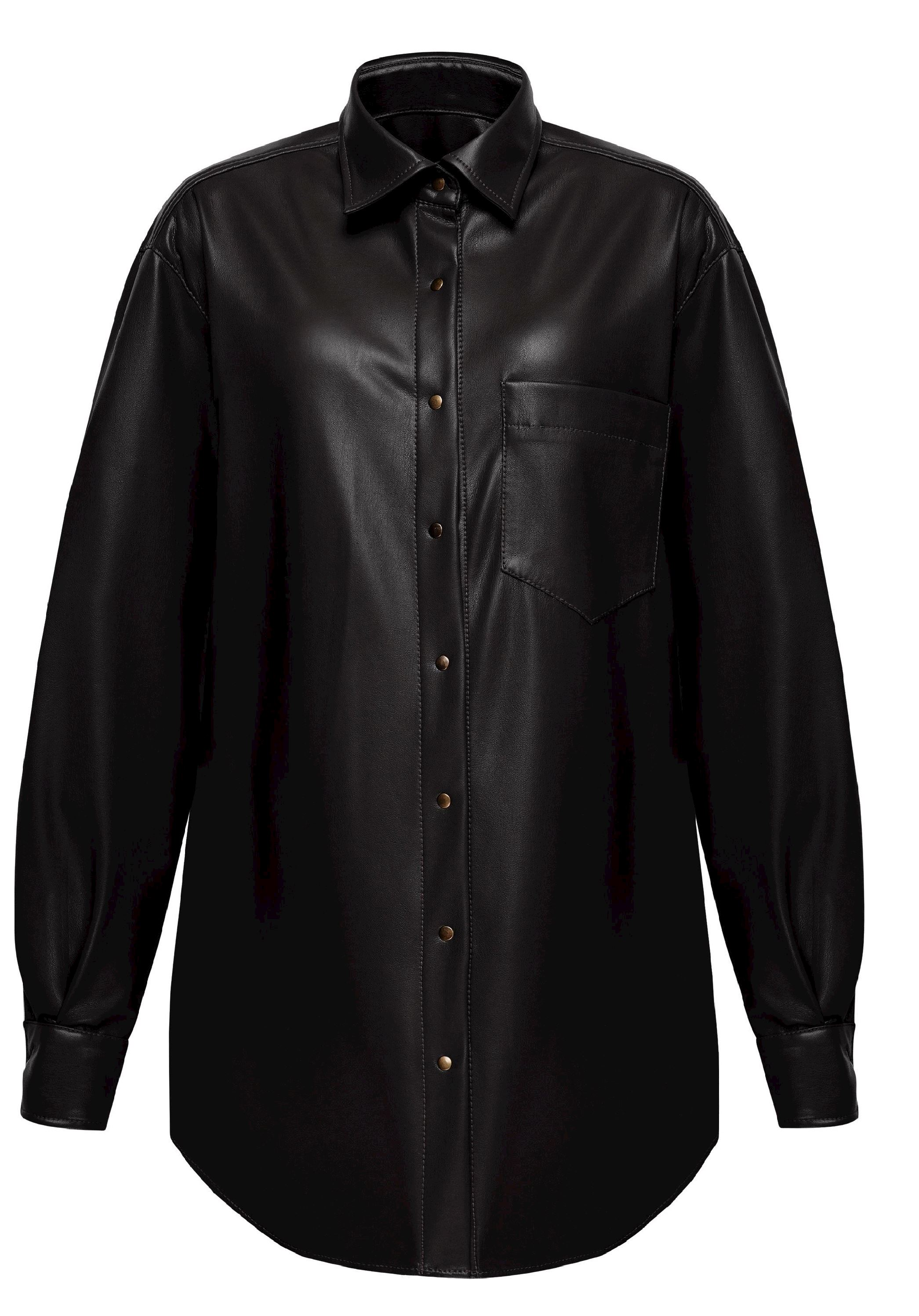 Black maternity shirt made of eco-leather