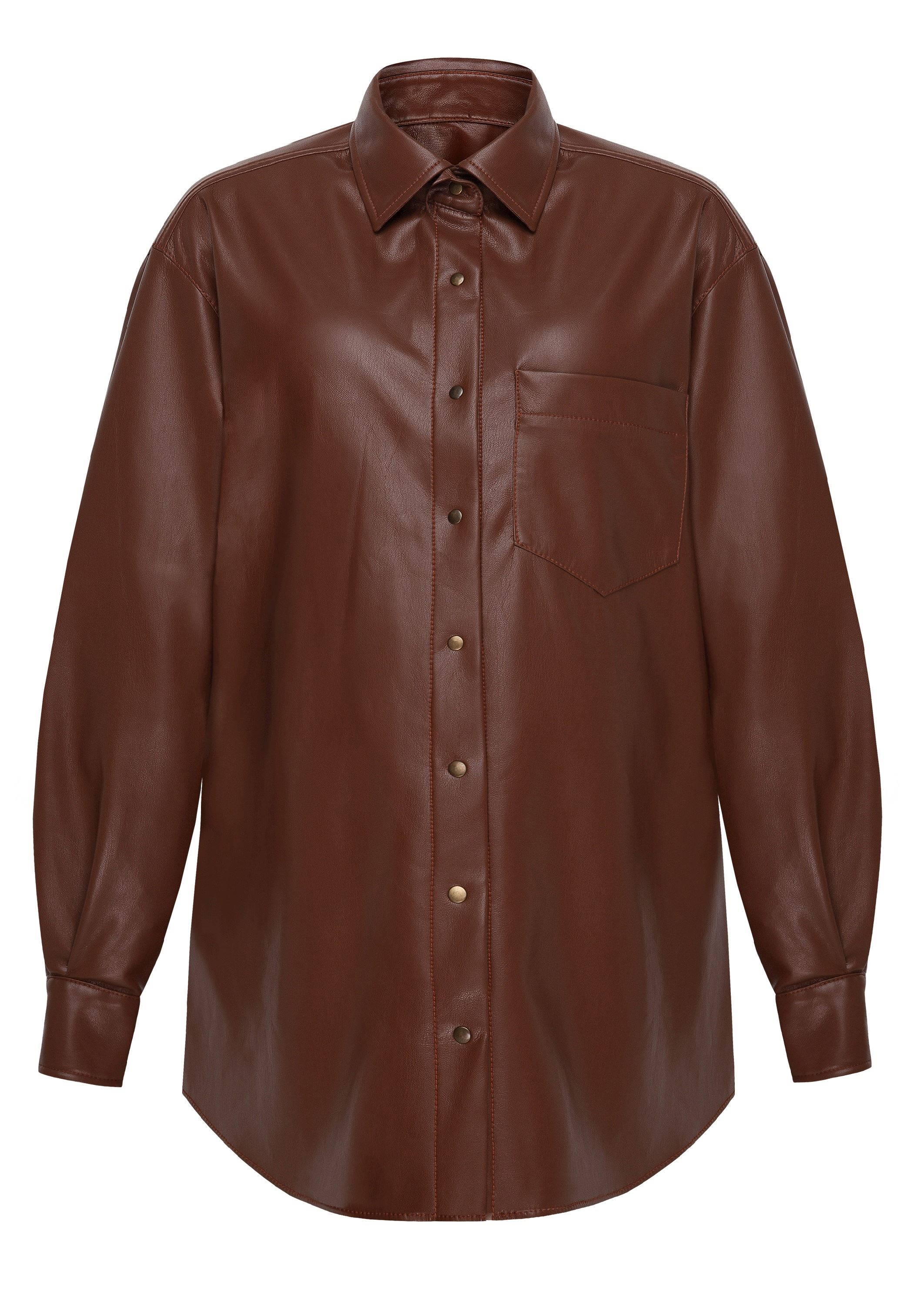 Caramel color maternity shirt made of eco-leather