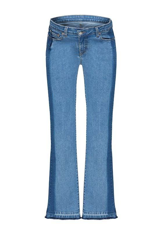 Two-tone distressed straight-leg maternity jeans