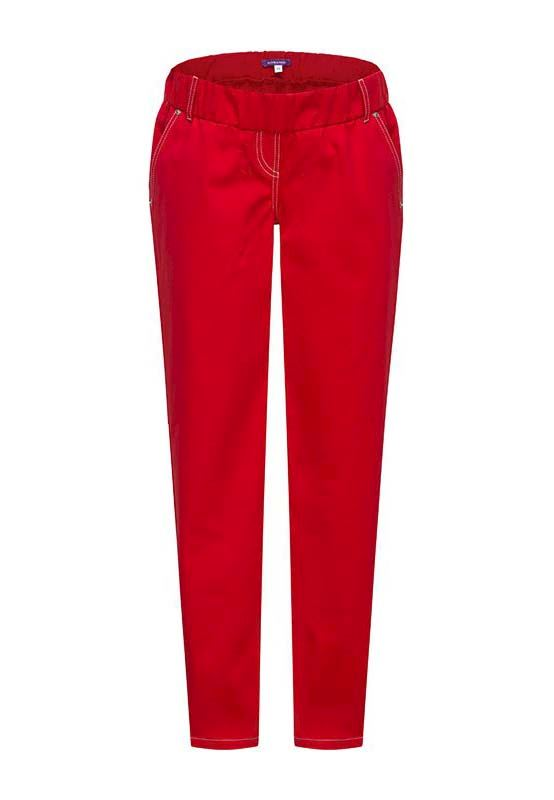 Red maternity jeans with contrast stitching