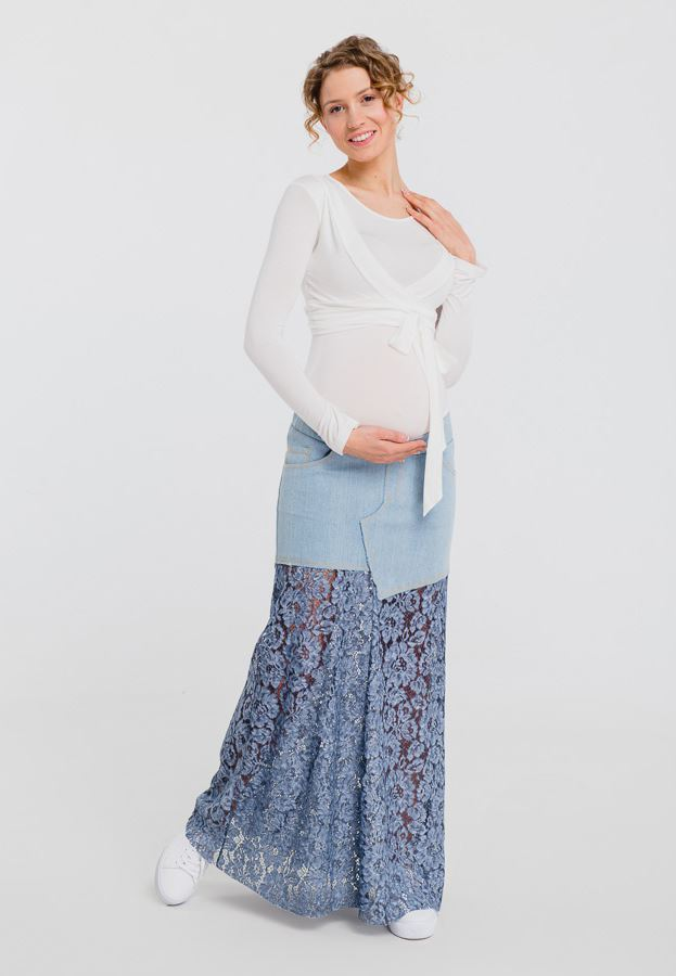 Denim and lace long maternity skirt